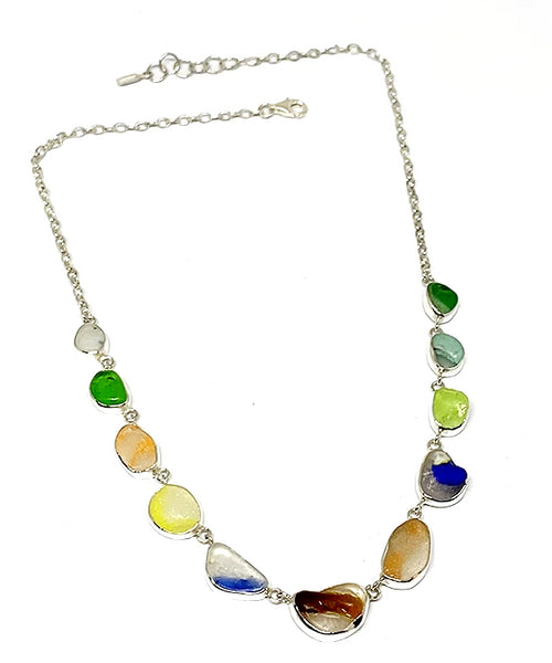 Rare Melded Sea Glass 11 Piece Necklace