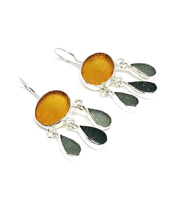 Dark Amber & Gray Sea Glass Chandelier Earrings
