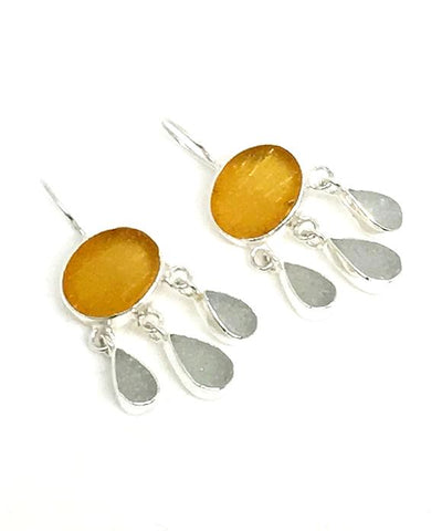 Amber & Light Gray Sea Glass Chandelier Earrings