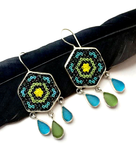 Turquoise and Green Fused Beaded Glass Mandala Flower Earrings with Sea Glass Drops