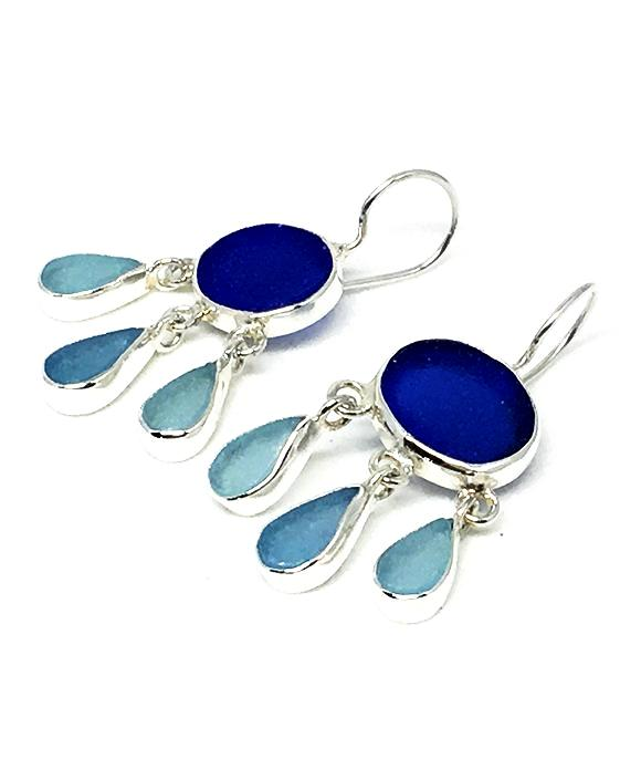 Cobalt & Aqua Sea Glass Chandelier Earrings