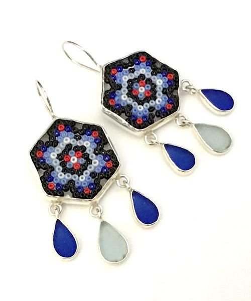 Cobalt, Red & Black Fused Beaded Glass Mandala Flower Earrings with Sea Glass Drops