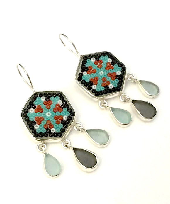Grey & Aqua Fused Beaded Glass Mandala Flower Earrings with Sea Glass Drops