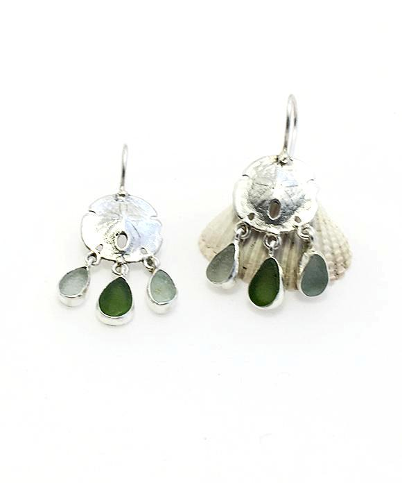 Cast Sterling Sand Dollar with Coke Bottle Blue and Green Sea Glass Chandelier Earrings