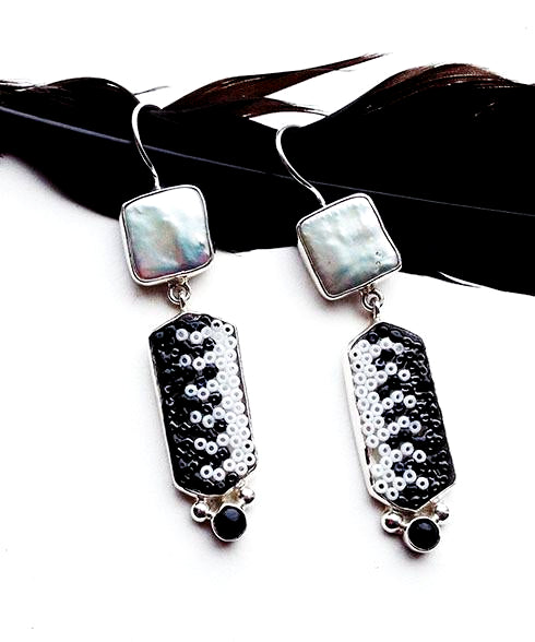 Black and White Beaded Glass with Square Pearl Double Drop Earrings