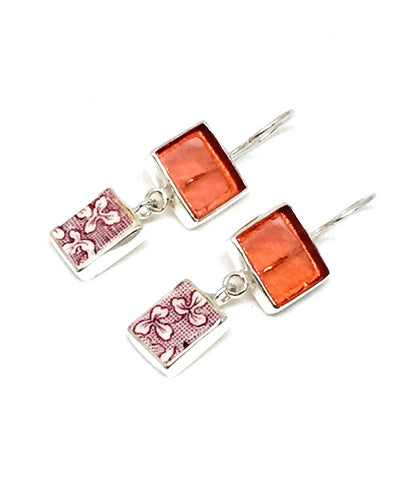 Salmon Pink Stained Glass and Purple & White Floral Vintage Pottery Double Drop Earrings