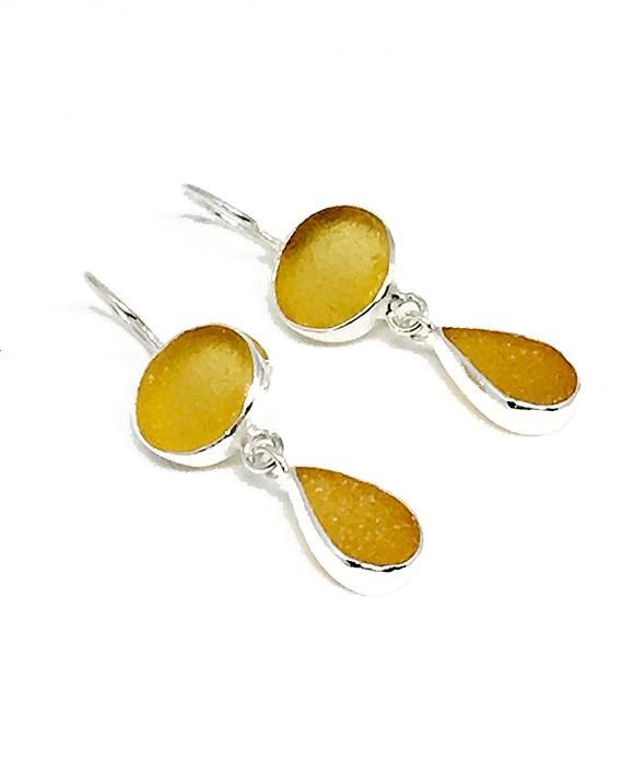 Light Amber & Dark Amber Sea Glass Double Drop Earrings