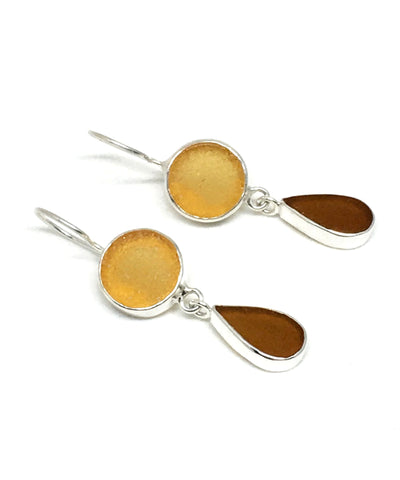 Amber & Brown Sea Glass Double Drop Earrings