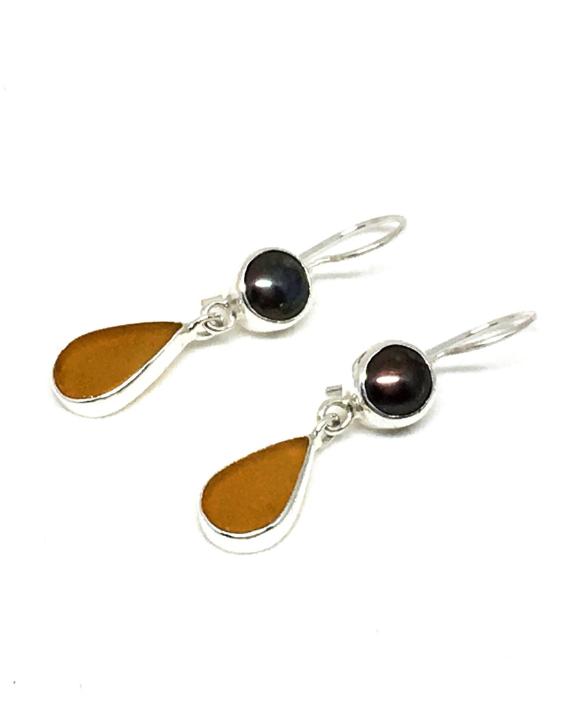 Dark Amber Sea Glass with Brown Pearl Earrings