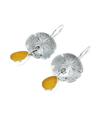 Cast Sterling Sand Dollar with Amber Sea Glass Double Drop Earrings