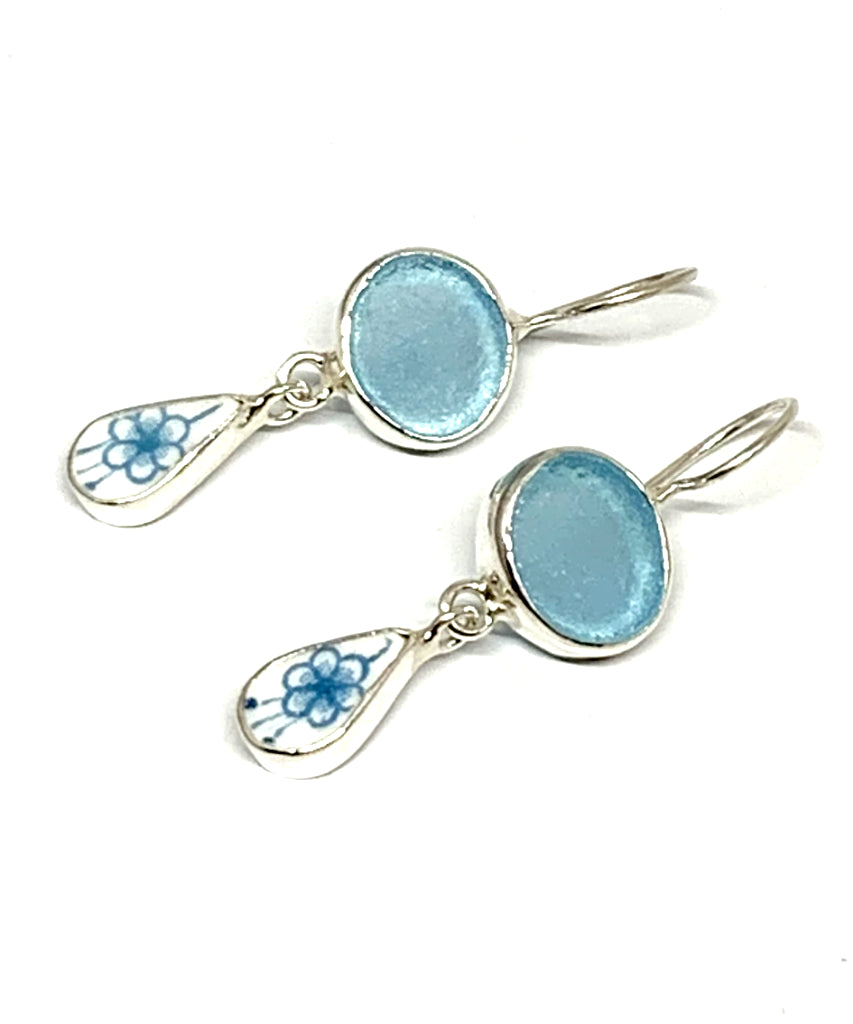Aqua Sea Glass with Aqua Floral Vintage Pottery Double Drop Earrings