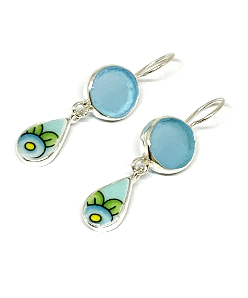Aqua Sea Glass & Turquoise Flower Vintage Pottery Double Drop Earrings