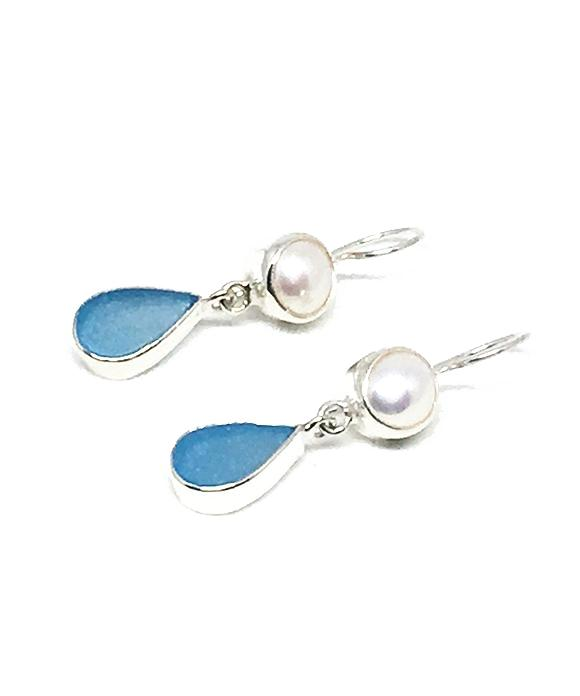 Dark Aqua Sea Glass with Pearl Earrings Double Drop Earrings