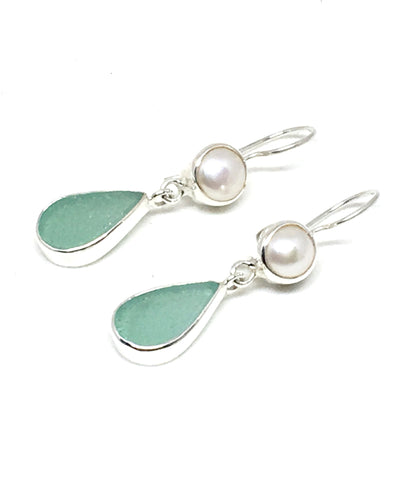 Soft Aqua Sea Glass with Pearl Earrings Double Drop Earrings