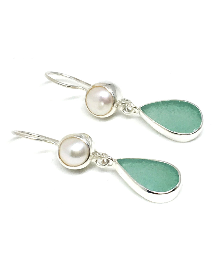 Aqua Sea Glass with Pearl Earrings Double Drop Earrings