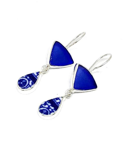 Cobalt Sea Glass & Blue and White Vintage Pottery Double Drop Earrings