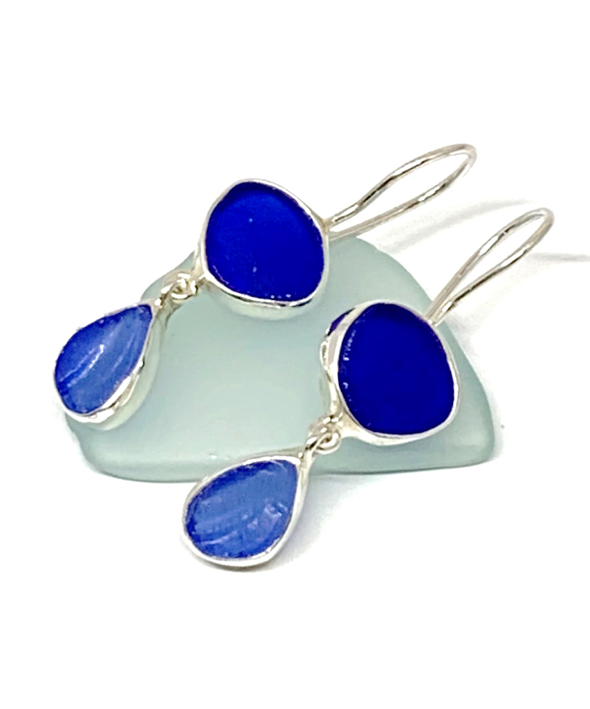 Cobalt and Textured Blue Sea Glass Double Drop Earrings