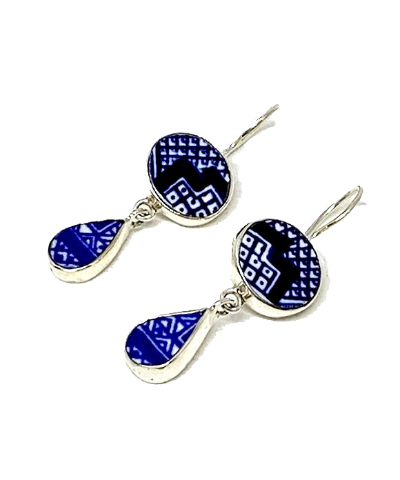 Blue and White Graphic Vintage Pottery Double Drop Earrings