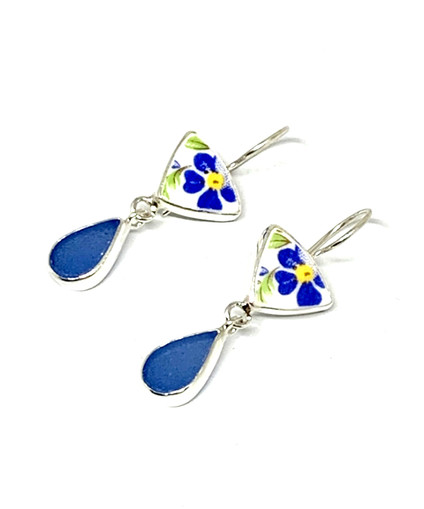 Blue & Yellow Flower Vintage Pottery with Blue Sea Glass Double Drop Earrings