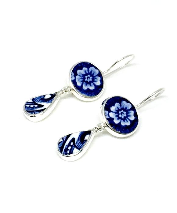 Blue and White Flower and Abstract Vintage Pottery  Drop Earrings
