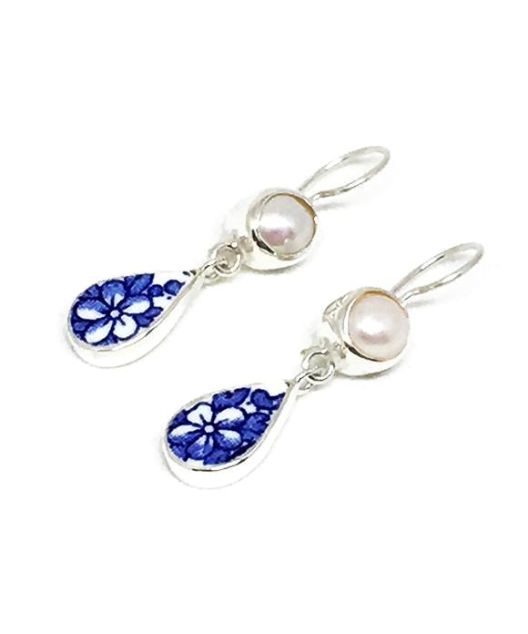 Blue and White Flower Vintage Pottery & Pearl Double Drop Earrings