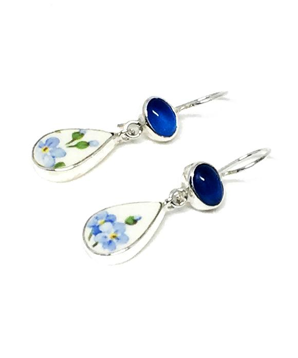 Blue Flower Vintage Pottery & Blue Agate Double Drop Earrings