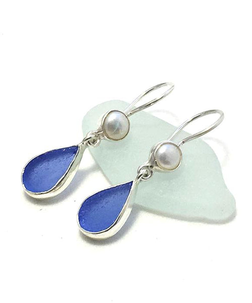 Blue Sea Glass with Pearls Earrings