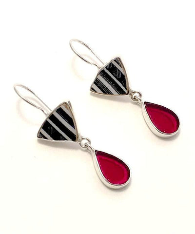 Black & White Striped Pottery with Red Stained Glass Double Drop Earrings