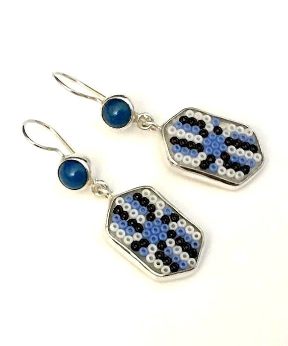 Blue & White Beaded Glass with Blue Agate Stone Double Drop Earrings