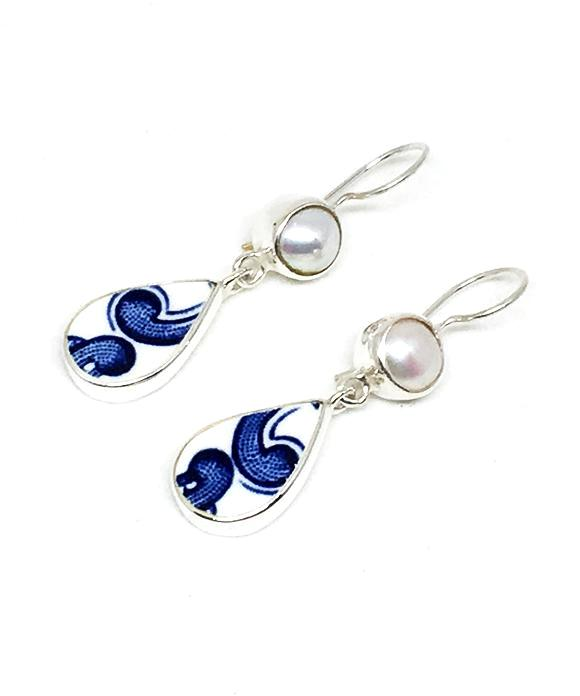 Blue and White Swirl Vintage Pottery & Pearl Double Drop Earrings