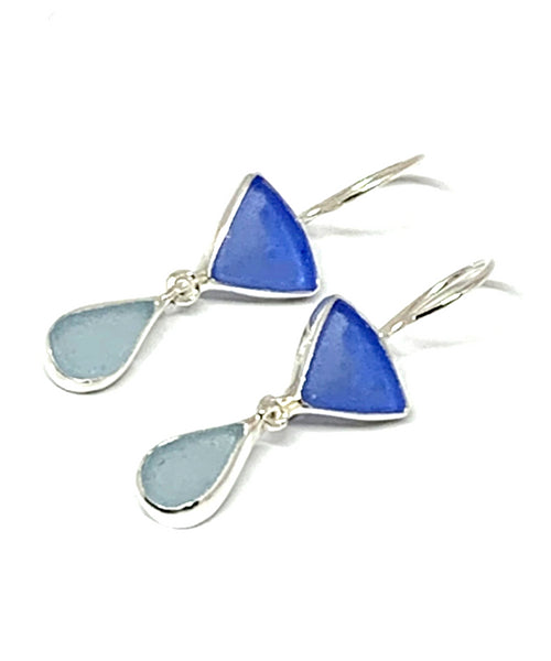 Blue and Light Aqua Sea Glass Double Drop Earrings