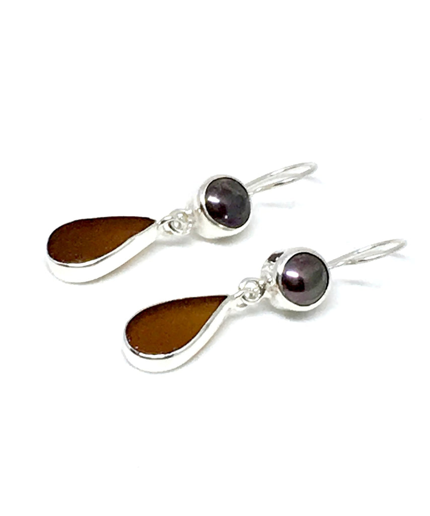 Brown Sea Glass with Black Pearl Earrings Double Drop Earrings