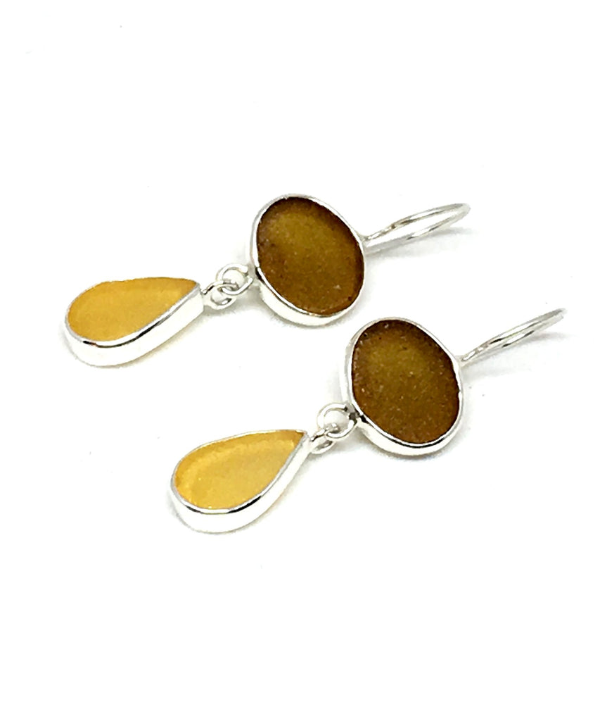 Light Brown and Amber Sea Glass Double Drop Earrings
