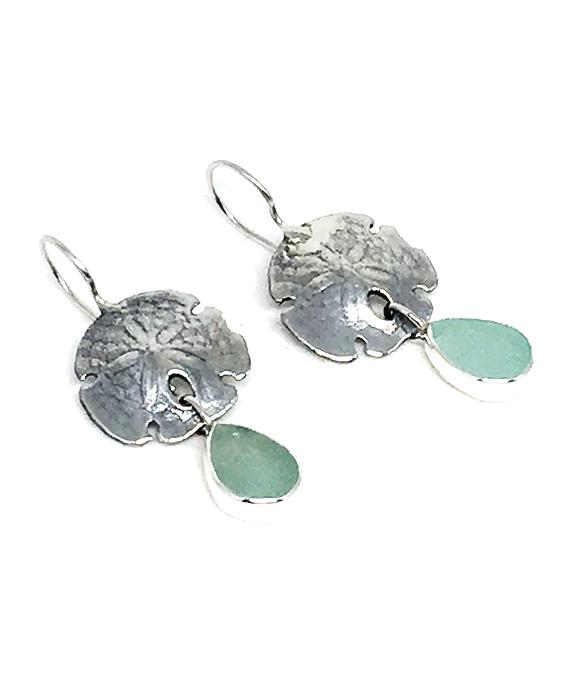 Cast Sterling Sand Dollar with Soft Aqua Sea Glass Double Drop Earrings