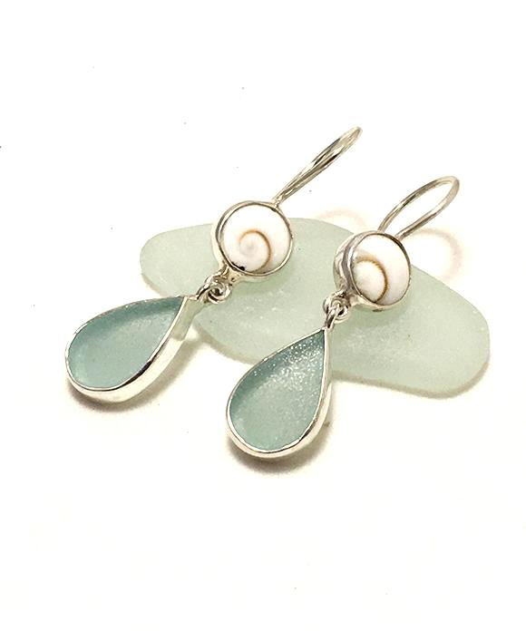 Coke Bottle Blue Sea Glass with Shiva Shell Earrings