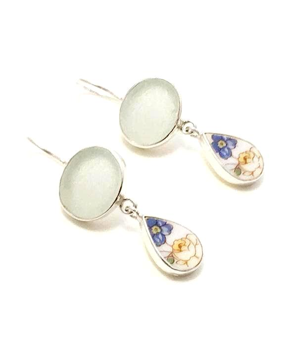 Clear Sea Glass & Blue and Yellow Floral Vintage Pottery Double Drop Earrings