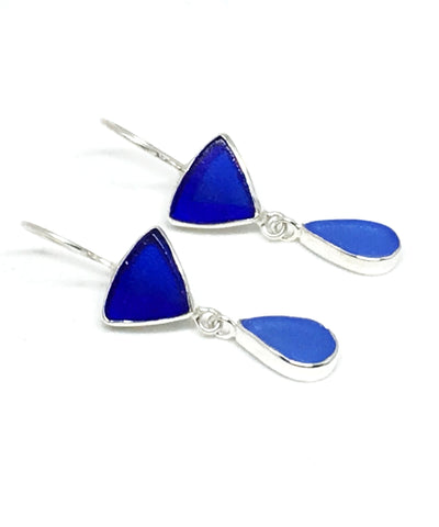 Dark Cobalt & Blue Sea Glass Double Drop Earrings