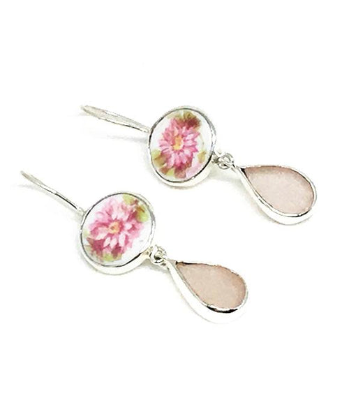 Pink Floral Vintage Pottery & Pink Sea Glass Double Drop Earrings