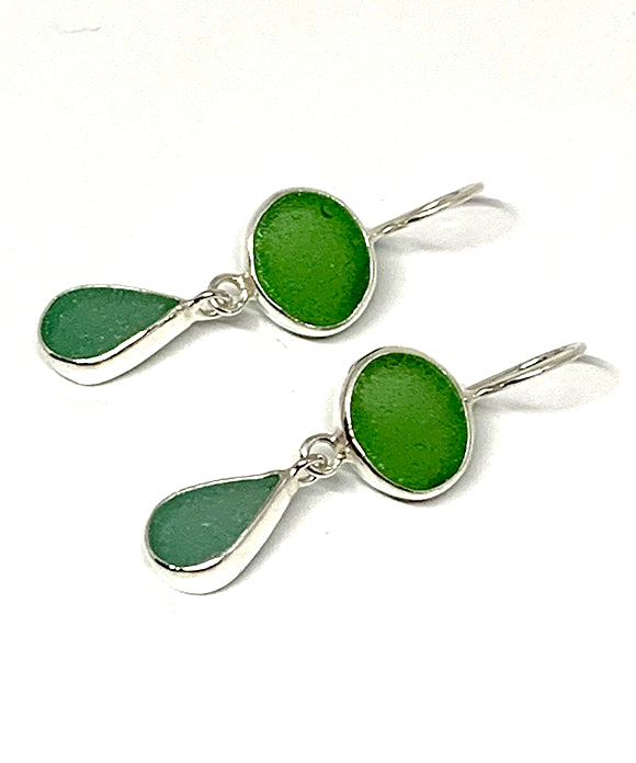 Green and Lime Green Sea Glass Double Drop Earrings