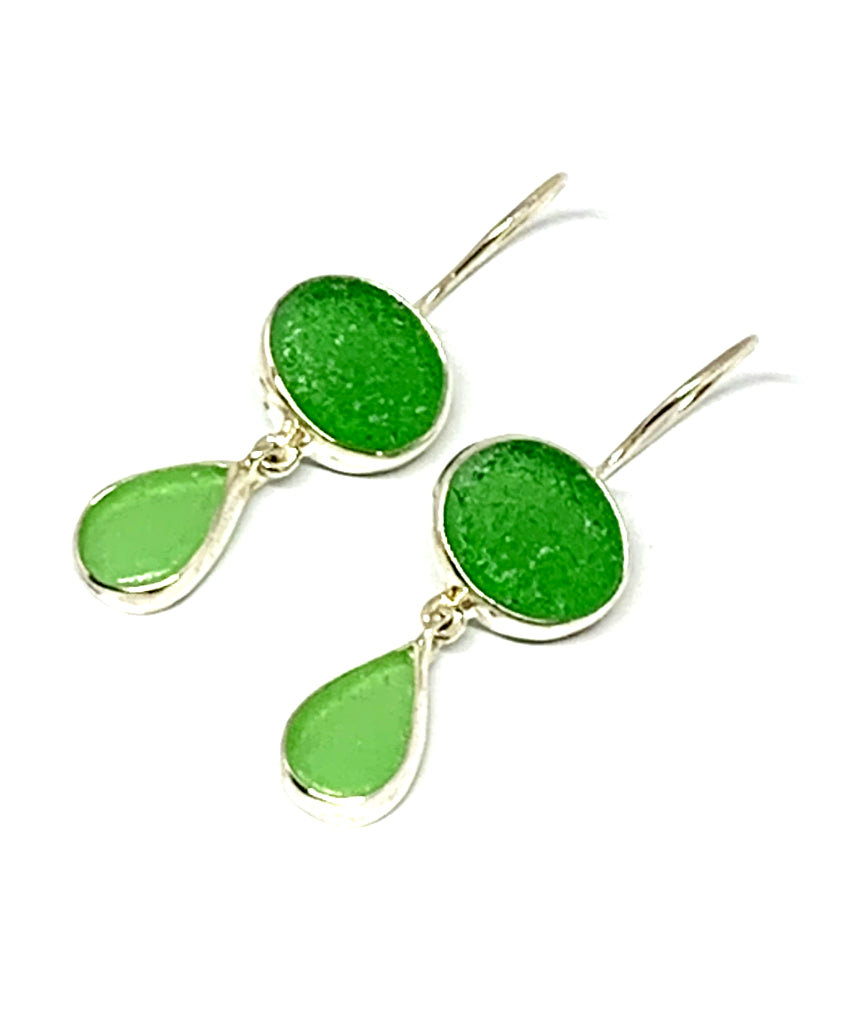 Green and Light Green Sea Glass Double Drop Earrings