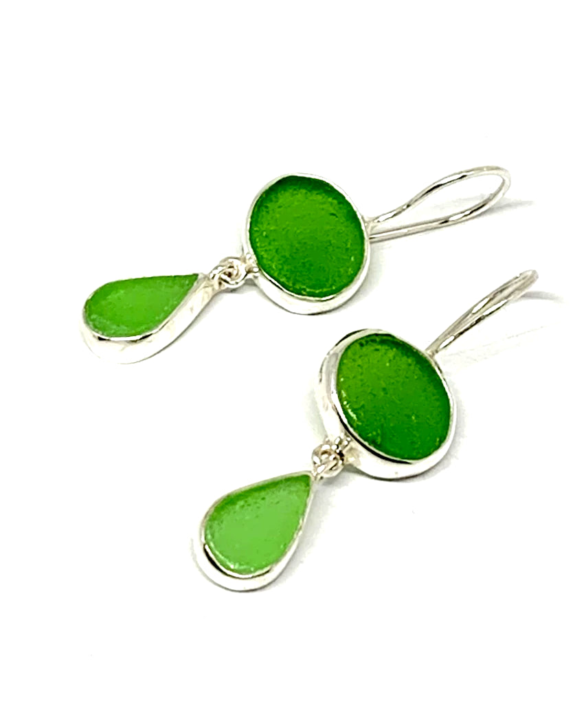 Shades of Green Sea Glass Double Drop Earrings