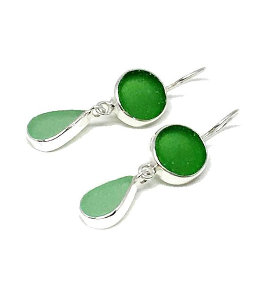 Green and Aqua Sea Glass Double Drop Earrings