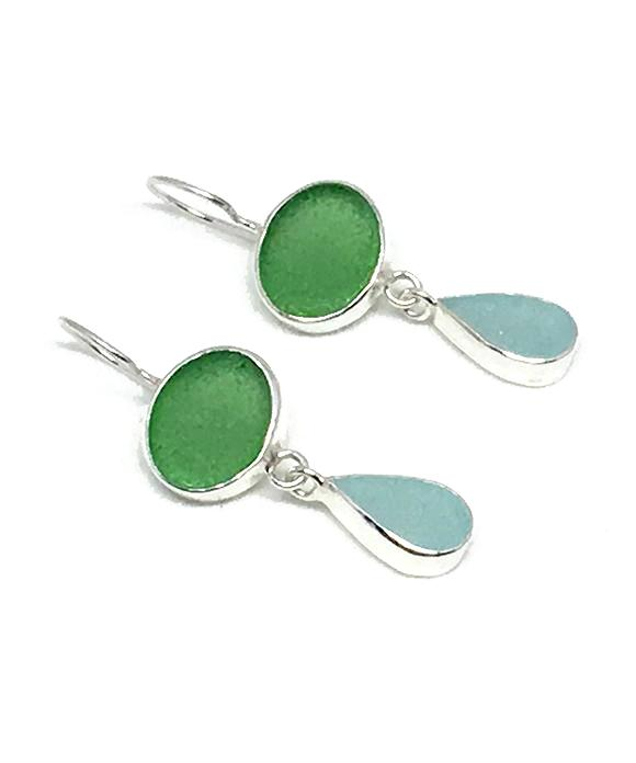 Green & Aqua Sea Glass Double Drop Earrings