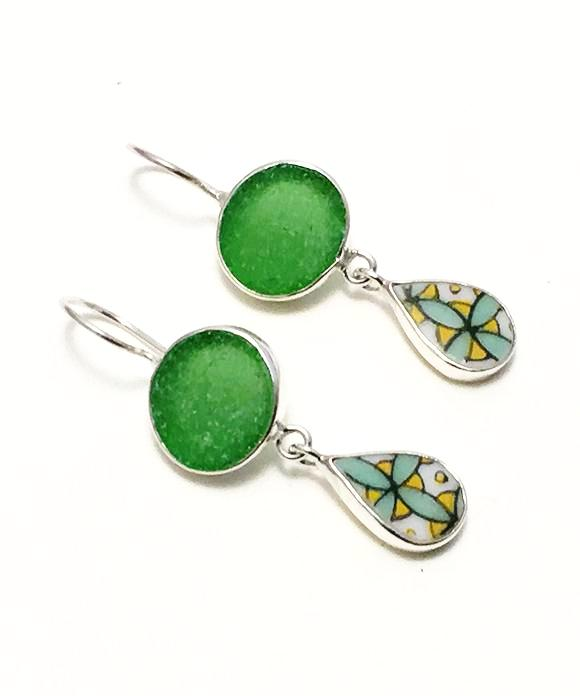 Green Sea Glass with Bold Green & Yellow Vintage Pottery Double Drop Earrings