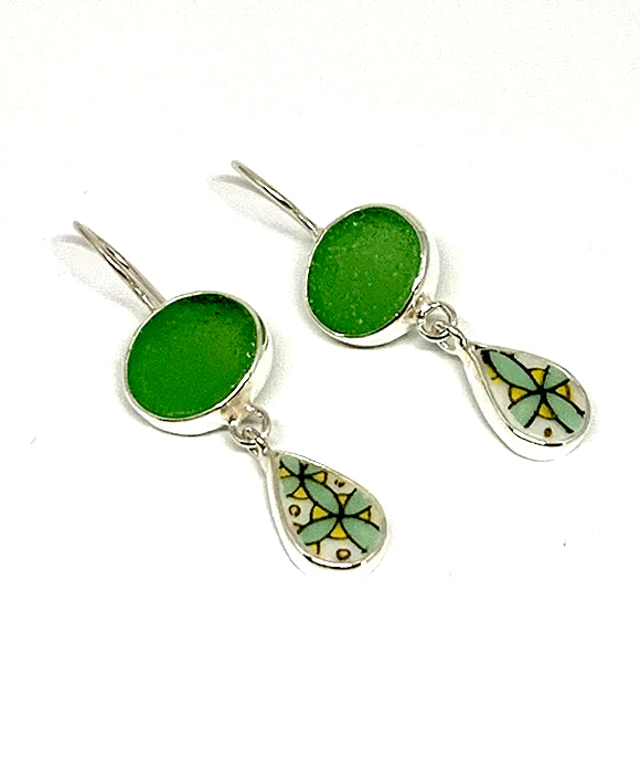 Green Sea Glass & Bold Vintage Pottery Double Earrings