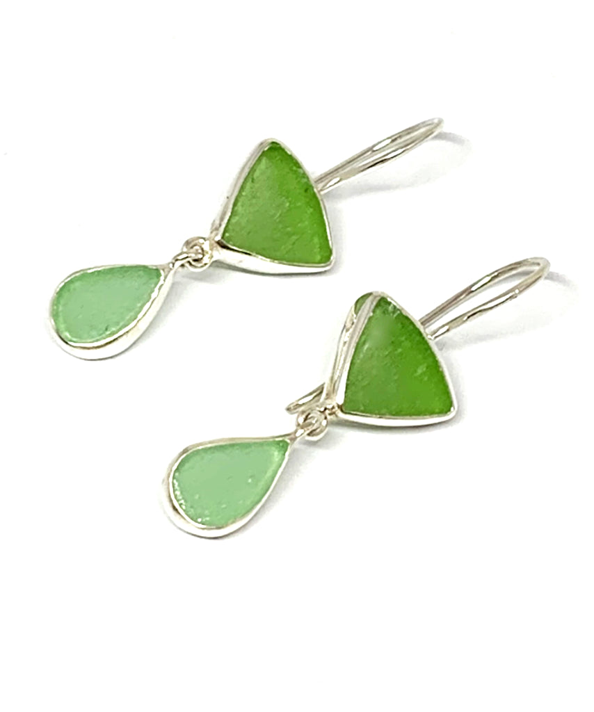 Bright Green & Aqua Sea Glass Double Drop Earrings