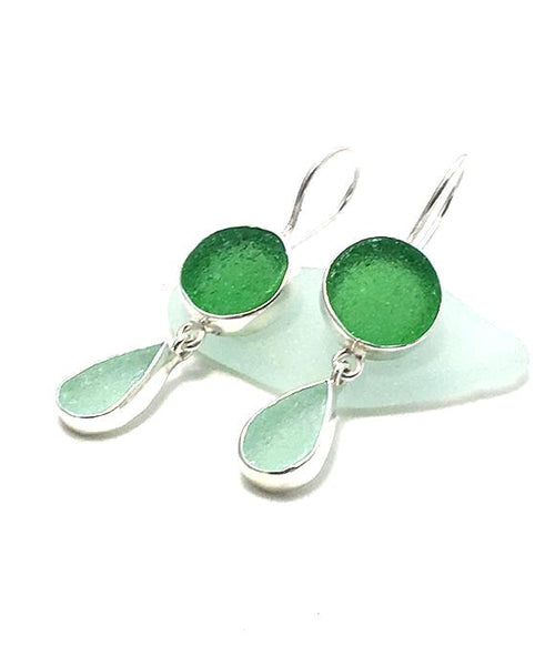 Soft Aqua Sea Glass & Green Agate Double Drop Earrings