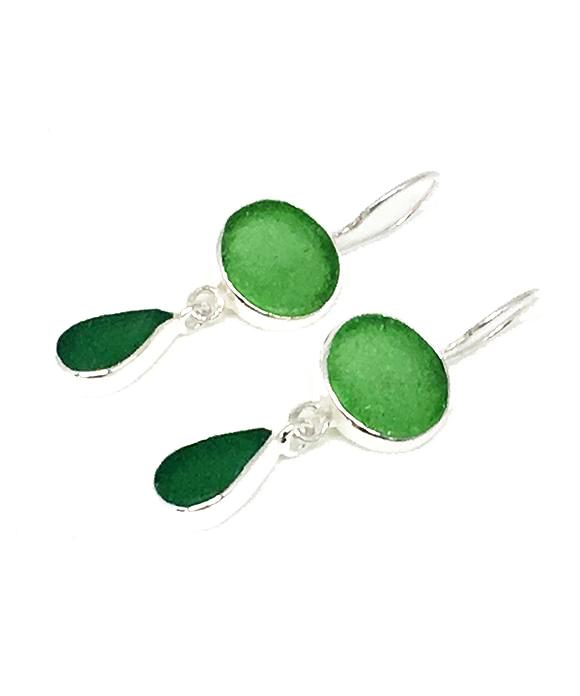 Green & Dark Green Sea Glass Double Drop Earrings