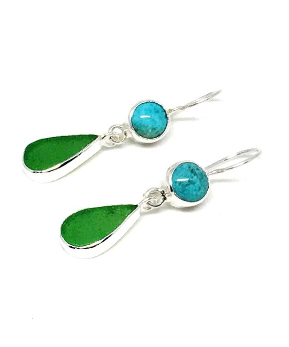 Green Sea Glass with Turquoise Earrings Double Drop Earrings