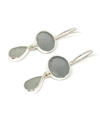 Grey & Light Grey Sea Glass Double Drop Earrings